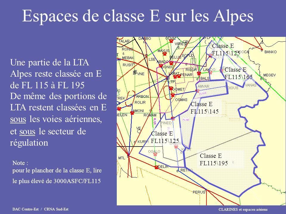 Espaces de classe E sur les Alpes