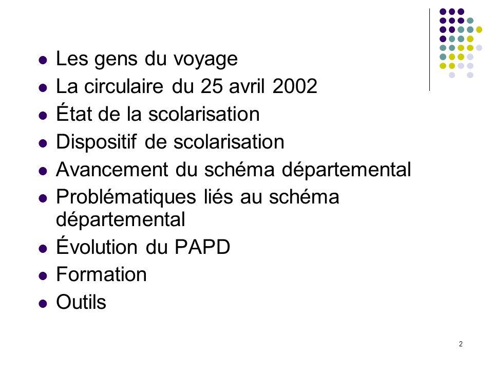 Les gens du voyage La circulaire du 25 avril 2002. État de la scolarisation. Dispositif de scolarisation.