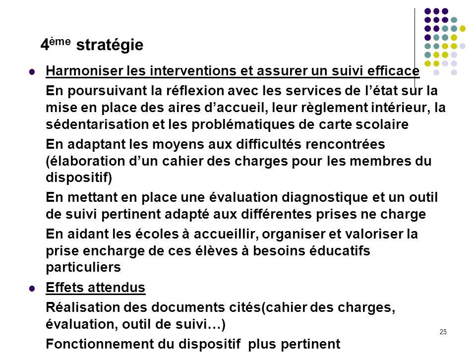 4ème stratégie Harmoniser les interventions et assurer un suivi efficace.