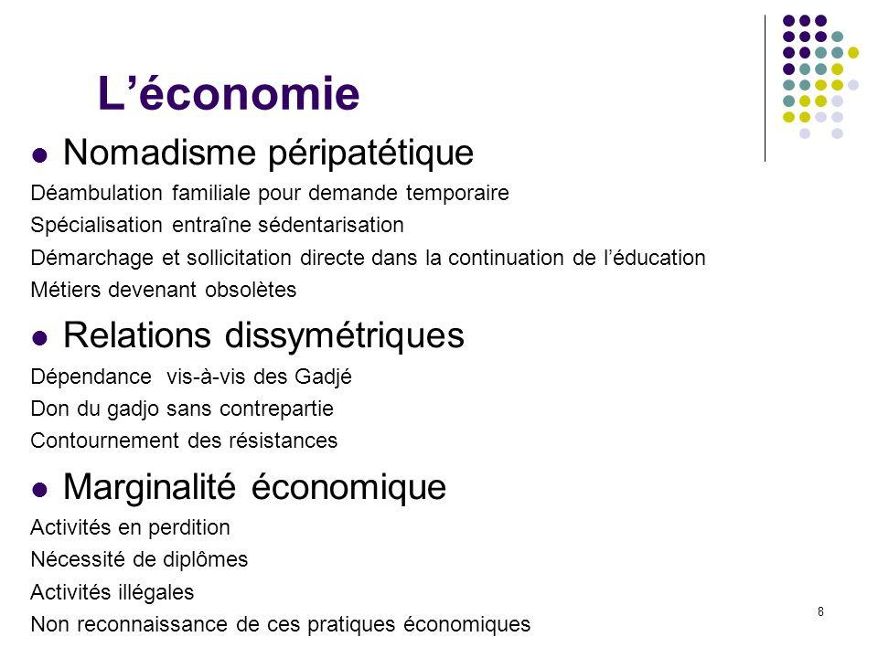 L'économie Nomadisme péripatétique Relations dissymétriques