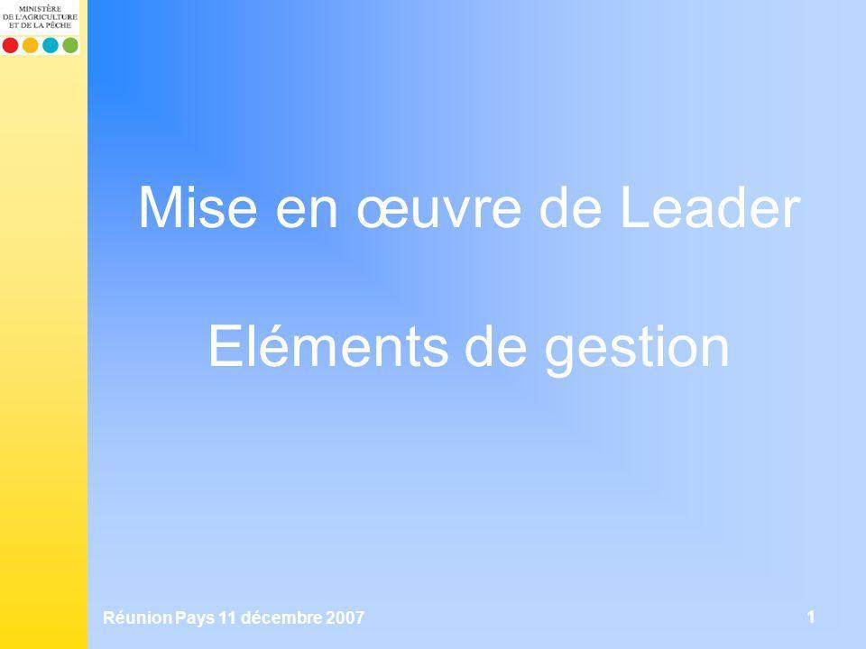 Mise en œuvre de Leader Eléments de gestion