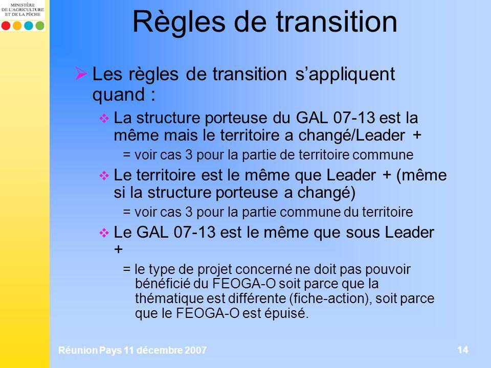 Règles de transition Les règles de transition s'appliquent quand :