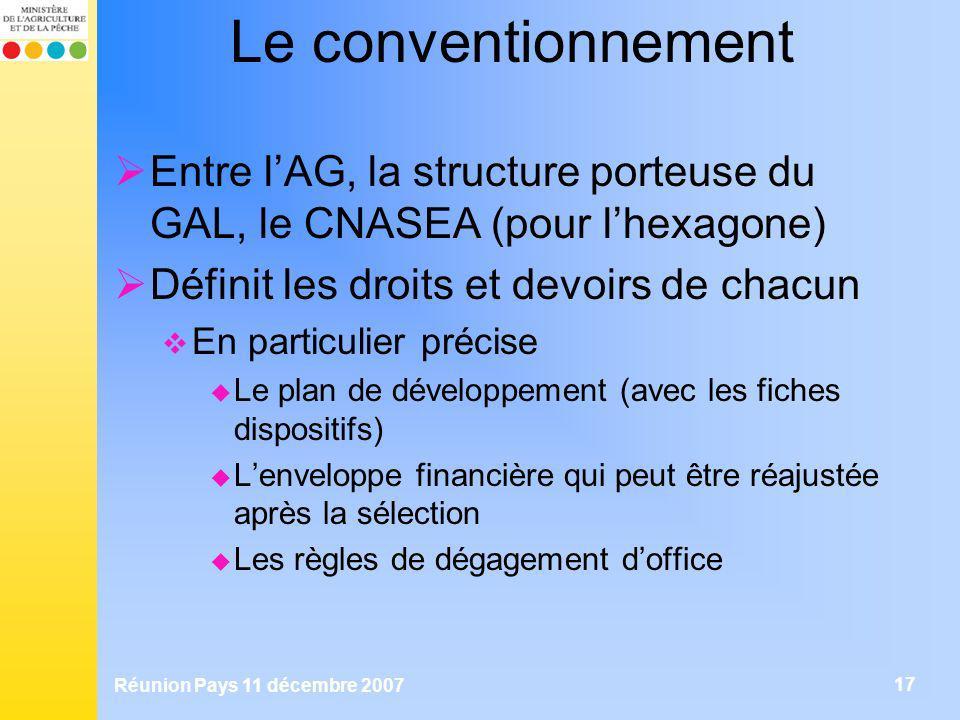 Le conventionnement Entre l'AG, la structure porteuse du GAL, le CNASEA (pour l'hexagone) Définit les droits et devoirs de chacun.