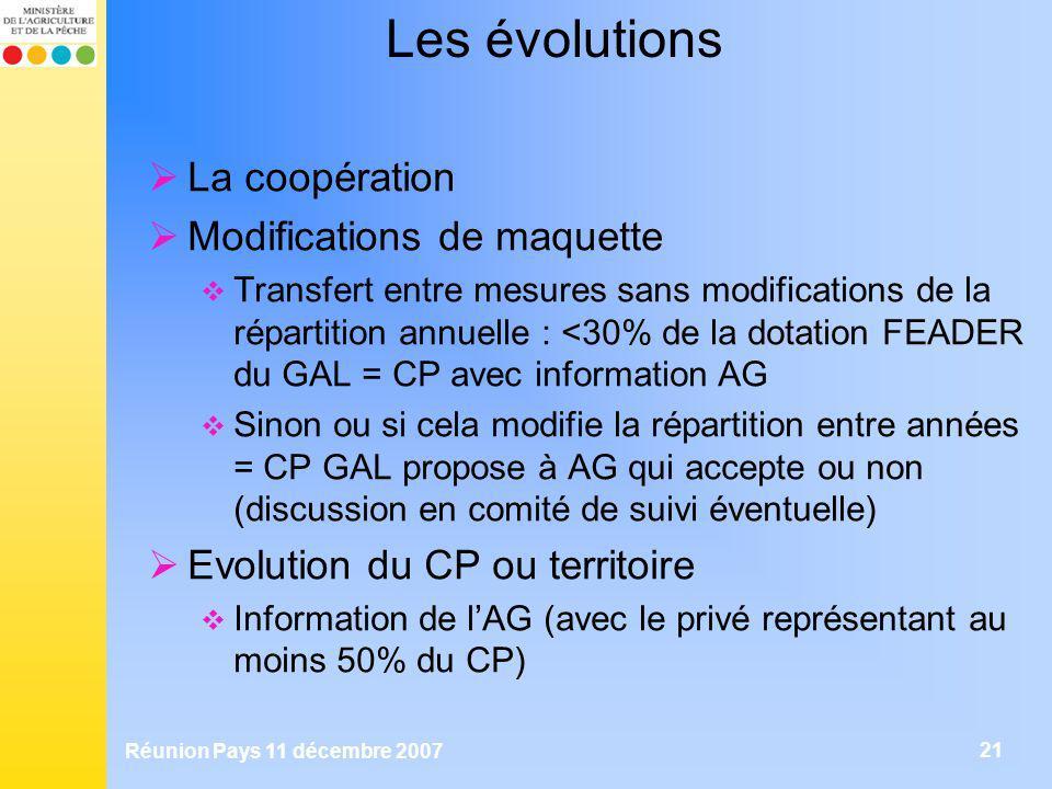 Les évolutions La coopération Modifications de maquette