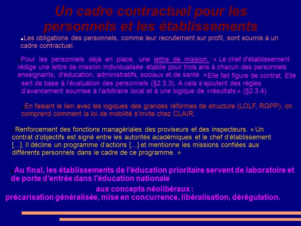 Un cadre contractuel pour les personnels et les établissements