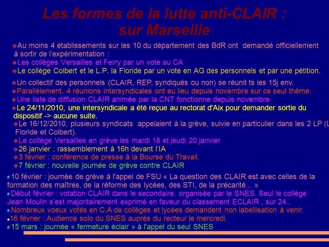 Les formes de la lutte anti-CLAIR : sur Marseille