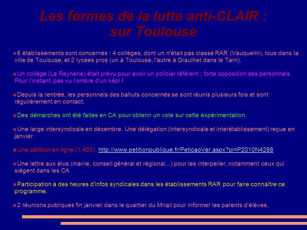 Les formes de la lutte anti-CLAIR : sur Toulouse
