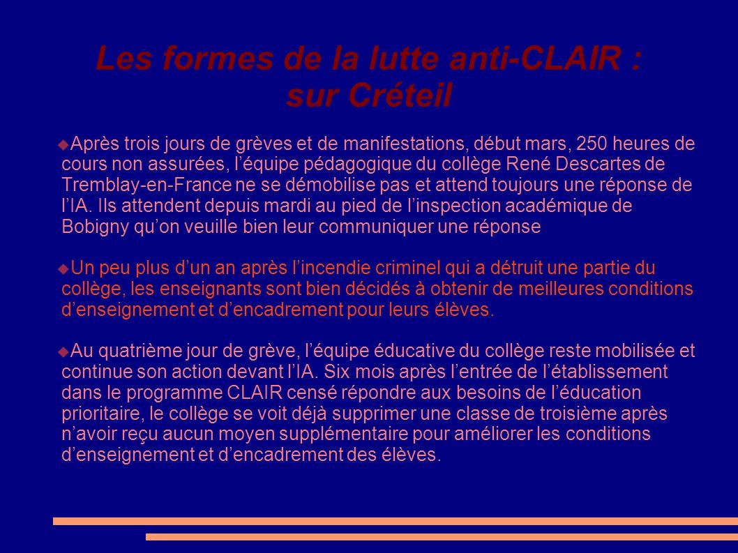 Les formes de la lutte anti-CLAIR : sur Créteil
