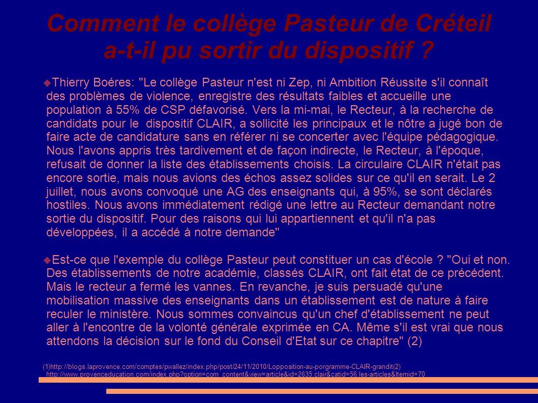 Comment le collège Pasteur de Créteil a-t-il pu sortir du dispositif