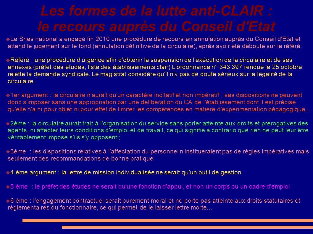 Les formes de la lutte anti-CLAIR : le recours auprès du Conseil d Etat