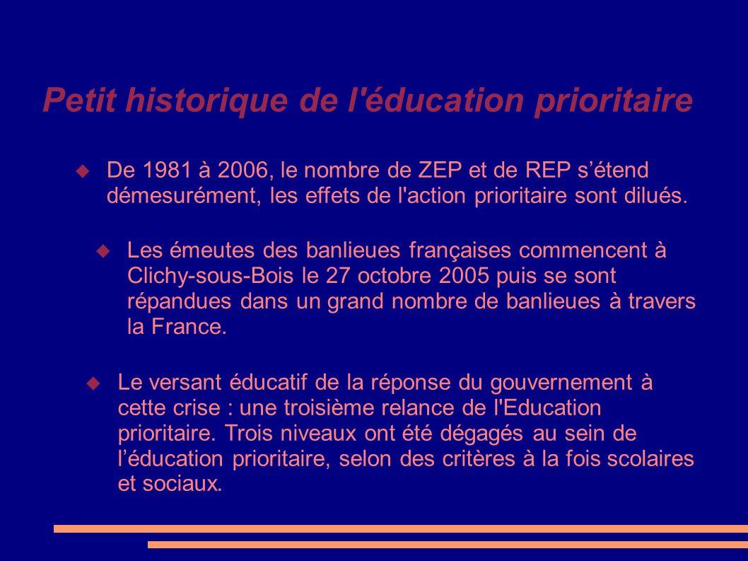 Petit historique de l éducation prioritaire
