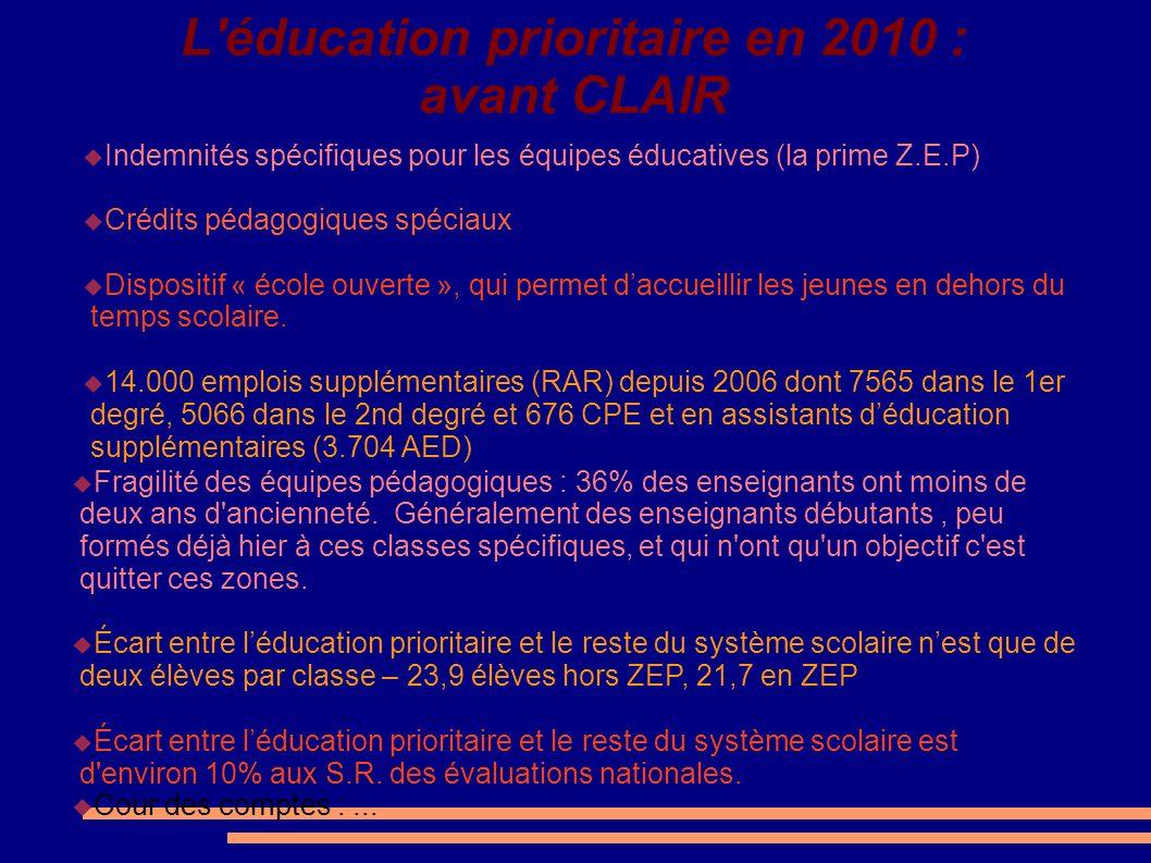 L éducation prioritaire en 2010 : avant CLAIR