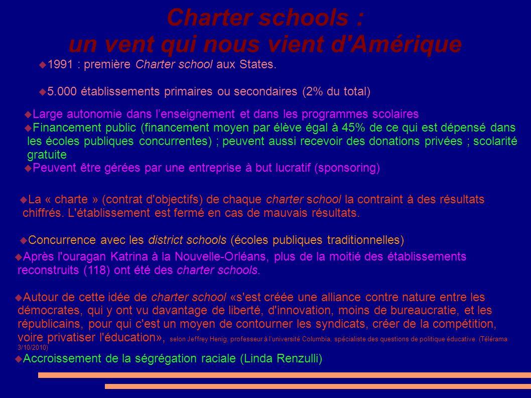 Charter schools : un vent qui nous vient d Amérique