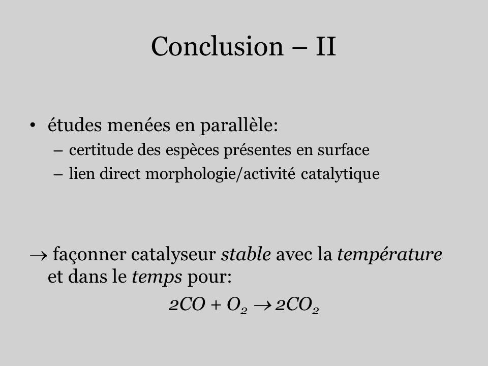 Conclusion – II études menées en parallèle: