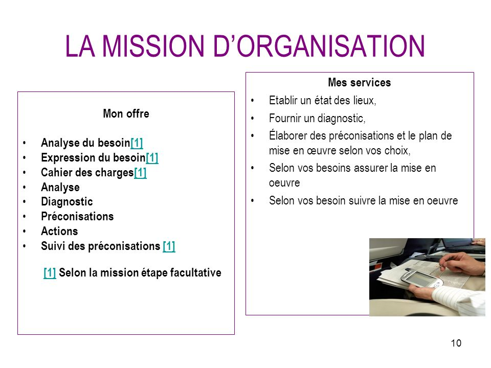 LA MISSION D'ORGANISATION
