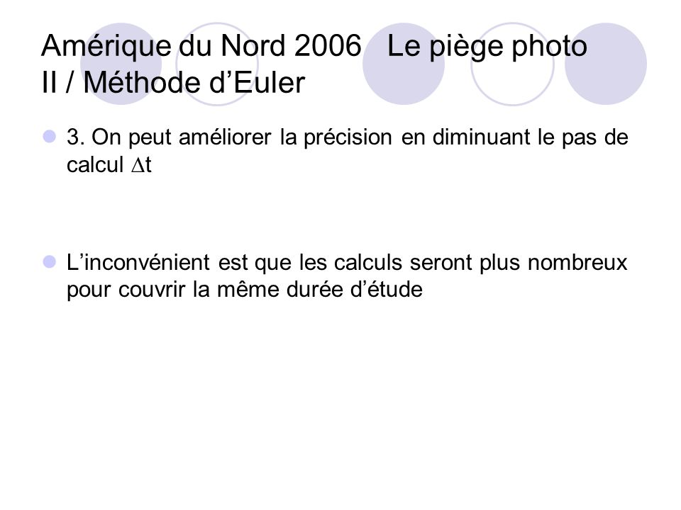 Amérique du Nord 2006 Le piège photo II / Méthode d'Euler