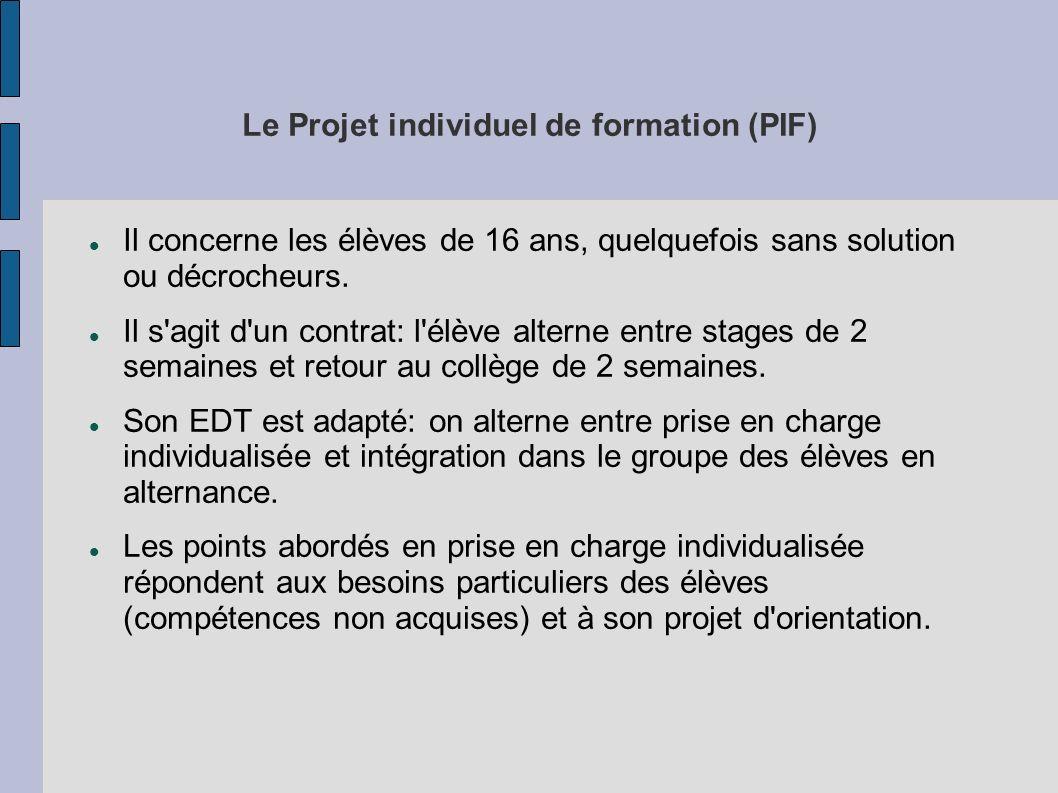Le Projet individuel de formation (PIF)