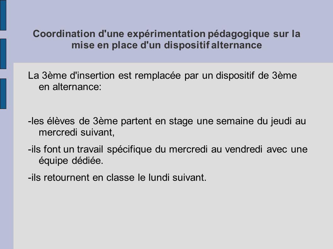 Coordination d une expérimentation pédagogique sur la mise en place d un dispositif alternance