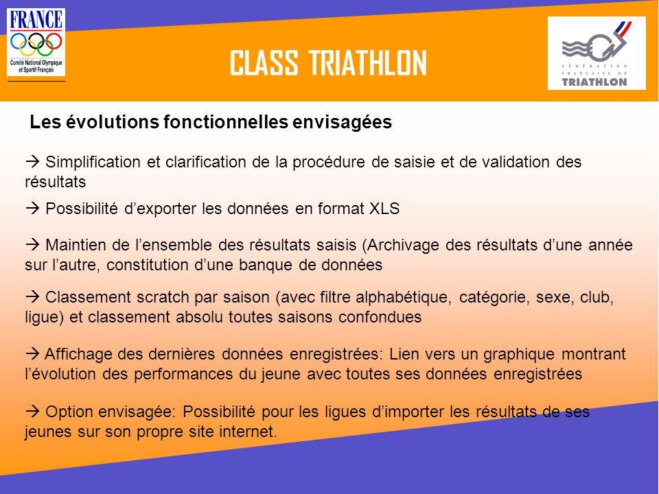 CLASS TRIATHLON Les évolutions fonctionnelles envisagées