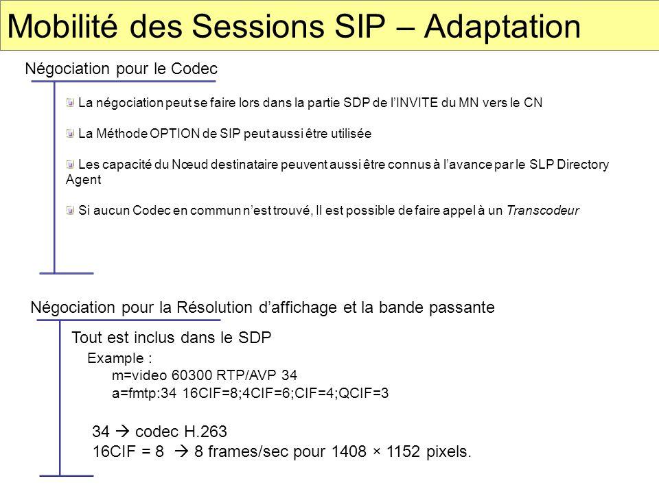 Mobilité des Sessions SIP – Adaptation