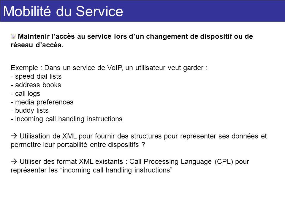 Mobilité du Service Maintenir l'accès au service lors d'un changement de dispositif ou de réseau d'accès.