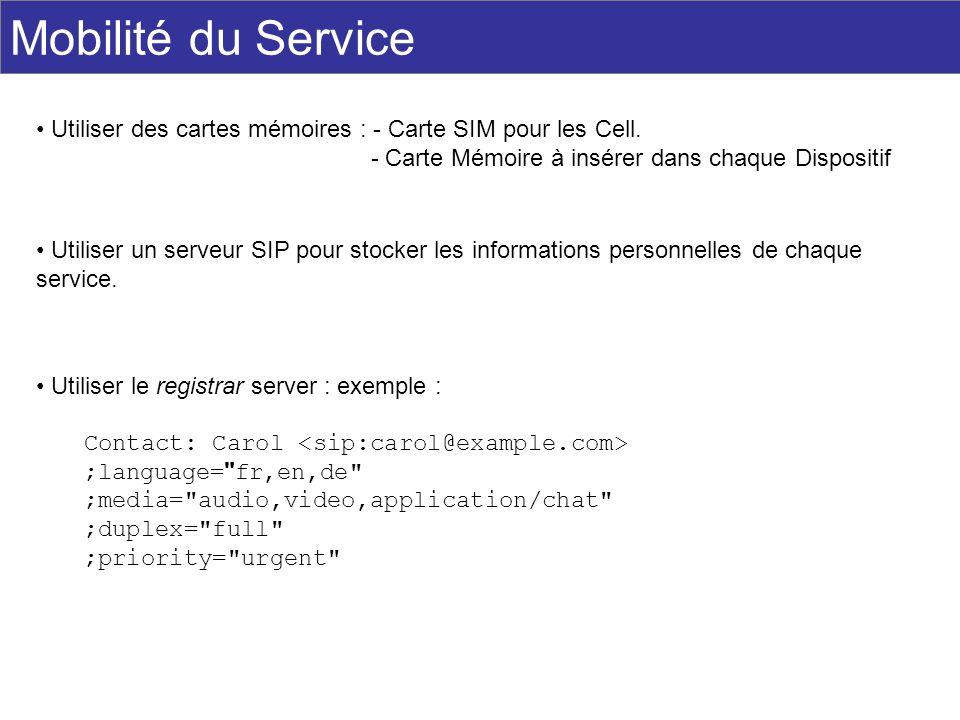 Mobilité du Service Utiliser des cartes mémoires : - Carte SIM pour les Cell. - Carte Mémoire à insérer dans chaque Dispositif.