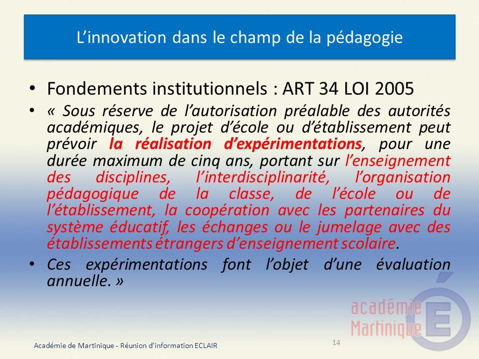 L'innovation dans le champ de la pédagogie