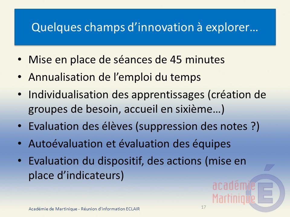 Quelques champs d'innovation à explorer…