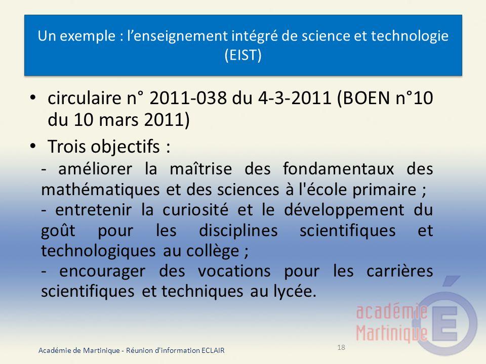 Un exemple : l'enseignement intégré de science et technologie (EIST)
