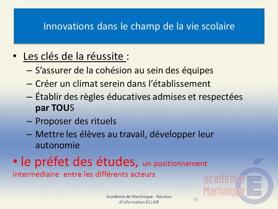 Innovations dans le champ de la vie scolaire