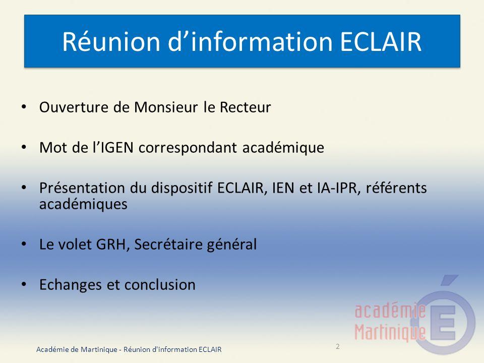 Réunion d'information ECLAIR
