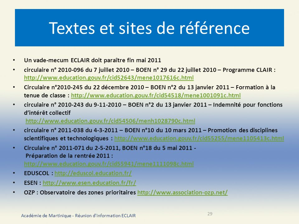 Textes et sites de référence