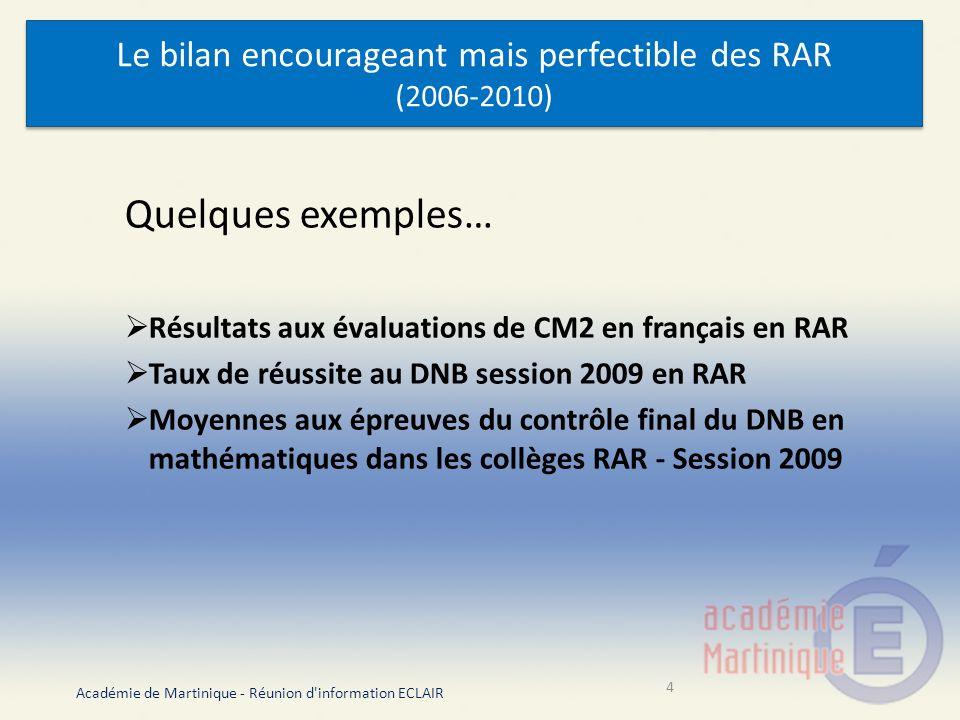 Le bilan encourageant mais perfectible des RAR (2006-2010)