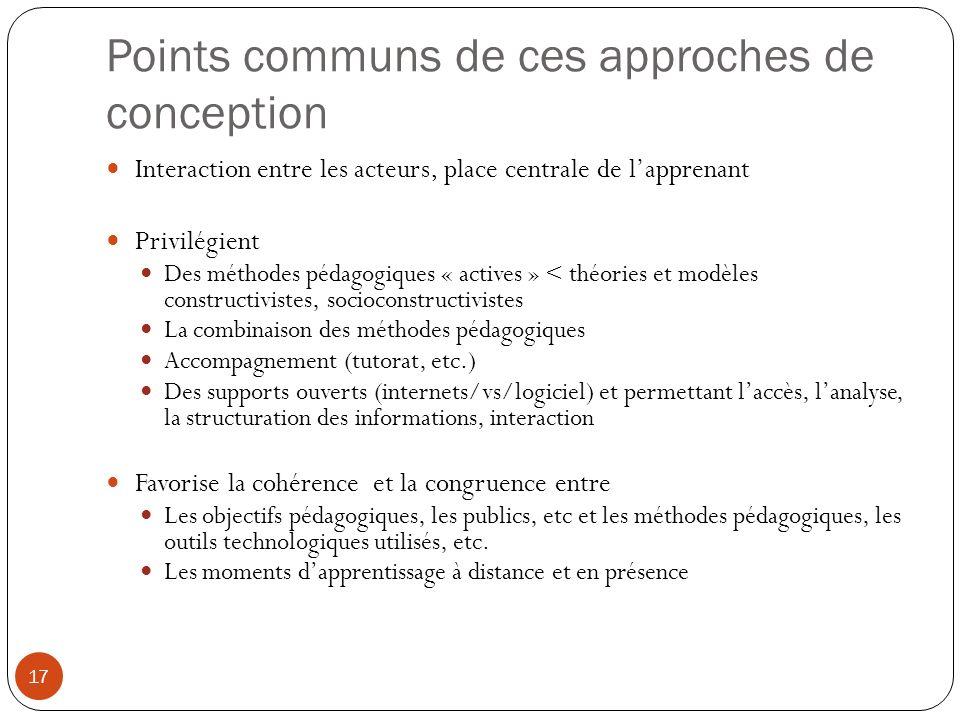 Points communs de ces approches de conception