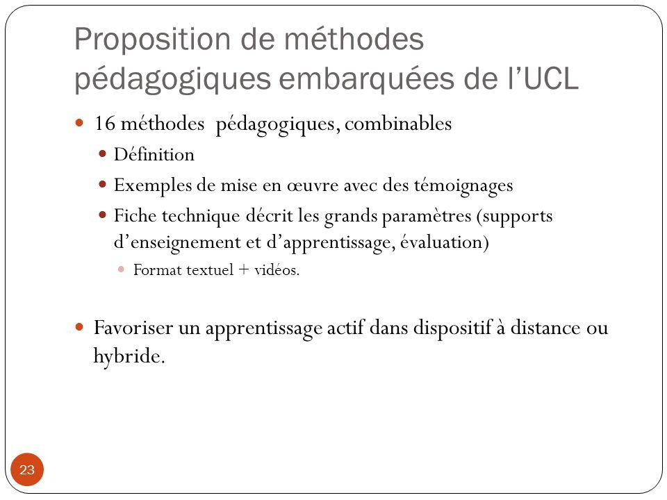 Proposition de méthodes pédagogiques embarquées de l'UCL