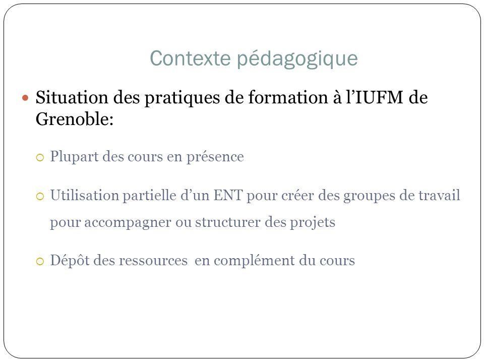3030Contexte pédagogique. Situation des pratiques de formation à l'IUFM de Grenoble: Plupart des cours en présence.