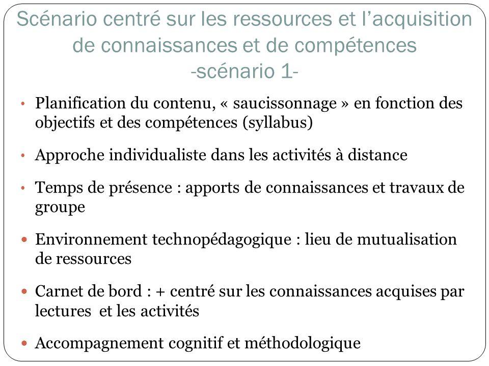 Scénario centré sur les ressources et l'acquisition de connaissances et de compétences -scénario 1-