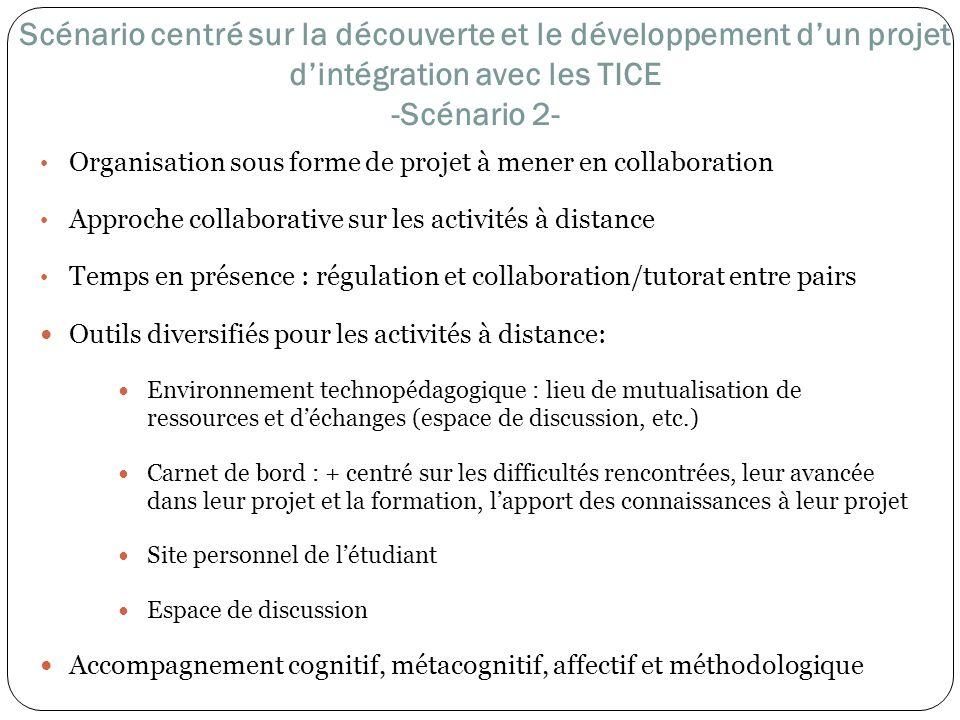 Scénario centré sur la découverte et le développement d'un projet d'intégration avec les TICE -Scénario 2-