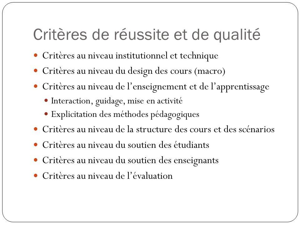 Critères de réussite et de qualité