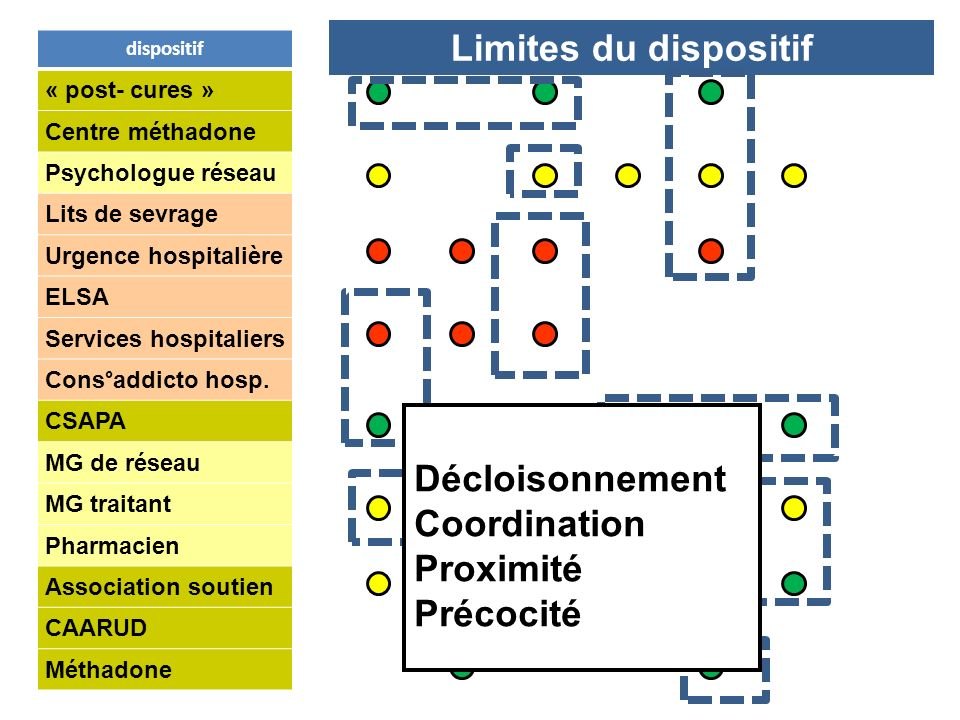 Limites du dispositif Décloisonnement Coordination Proximité Précocité