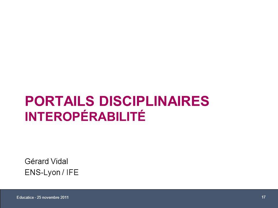 Portails Disciplinaires Interopérabilité