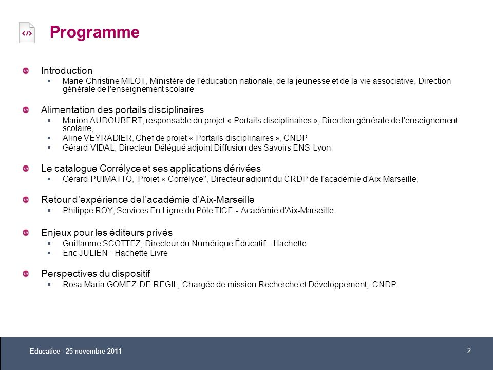 Programme Introduction Alimentation des portails disciplinaires