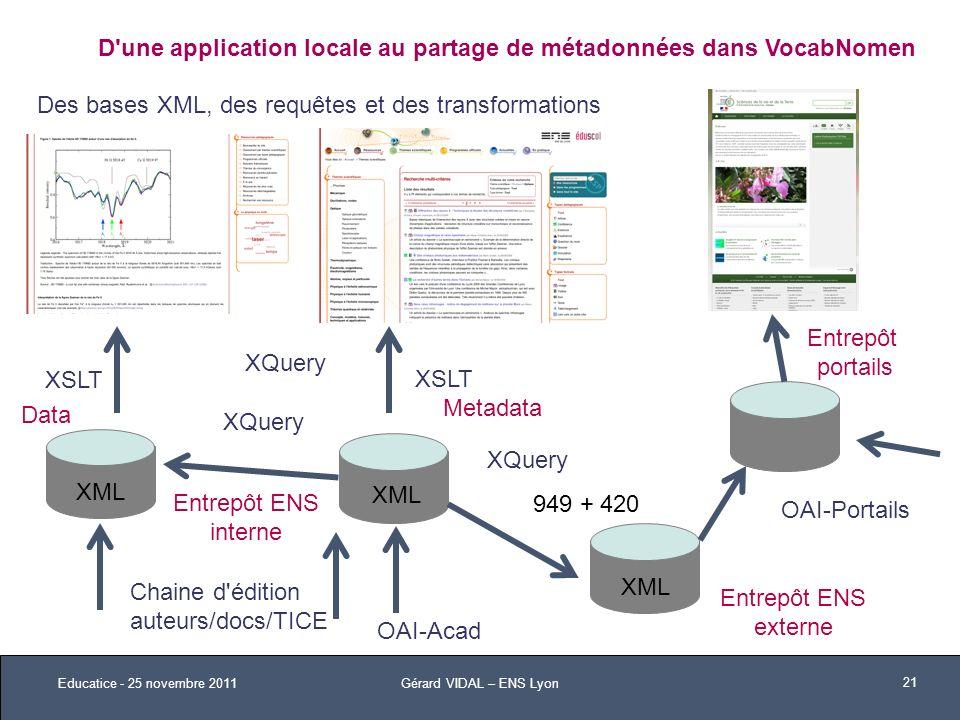 D une application locale au partage de métadonnées dans VocabNomen