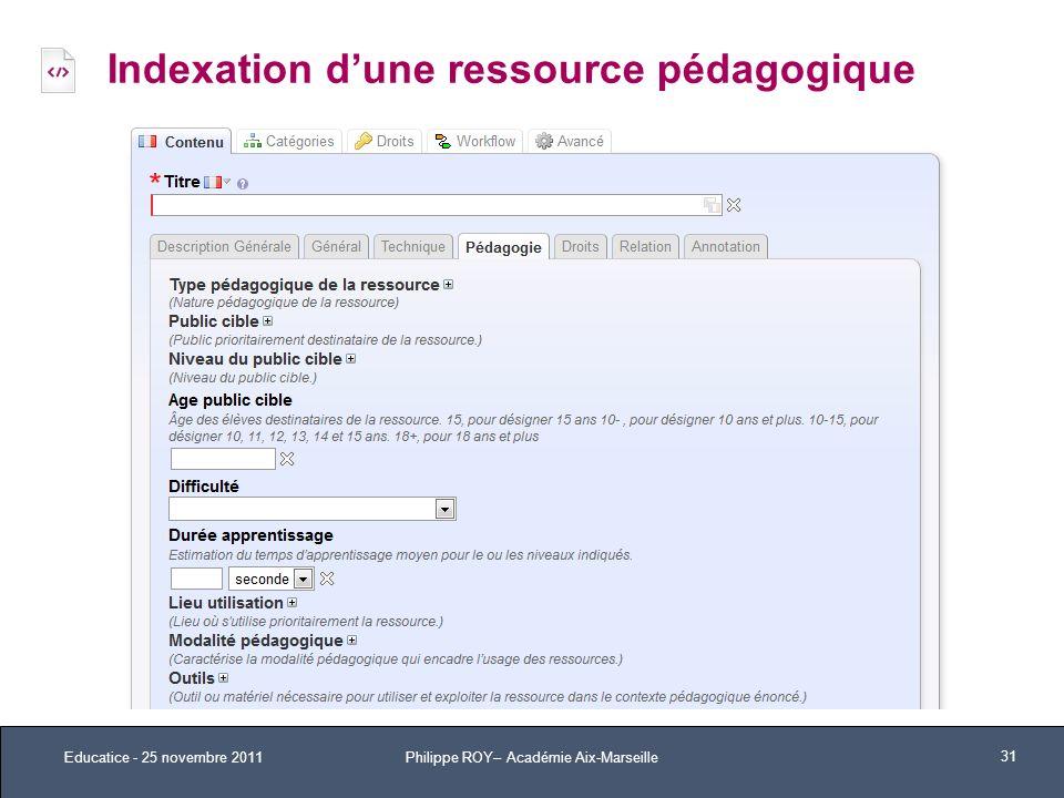 Indexation d'une ressource pédagogique