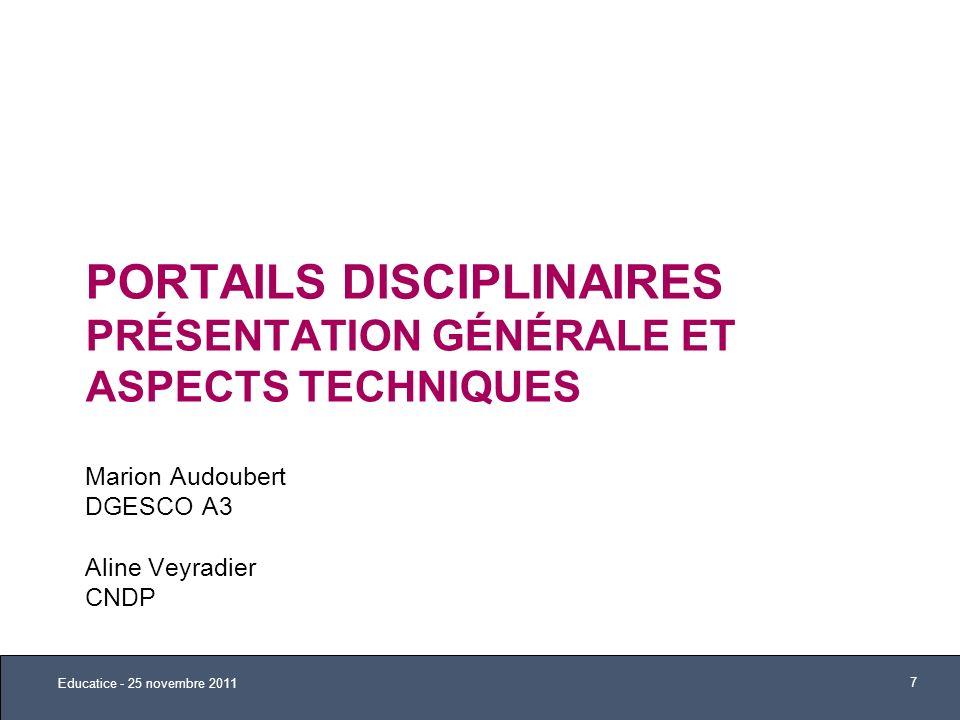 Portails Disciplinaires Présentation Générale et ASPECTS techniques