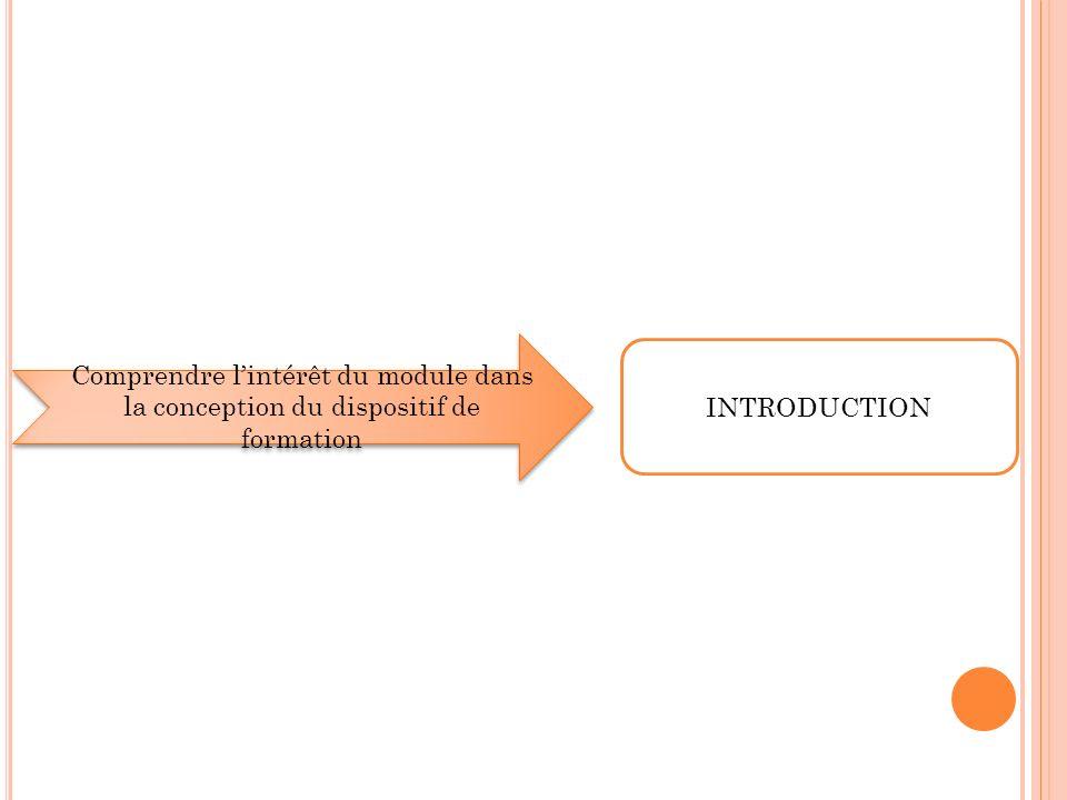 Comprendre l'intérêt du module dans la conception du dispositif de formation