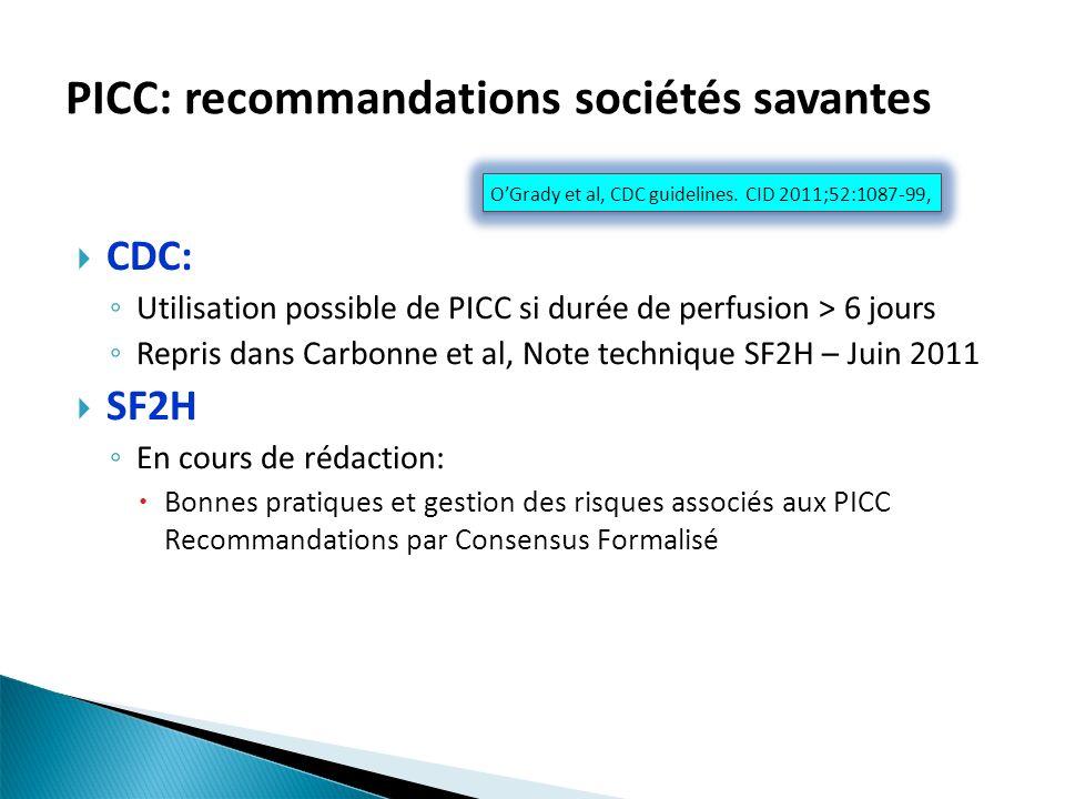 PICC: recommandations sociétés savantes