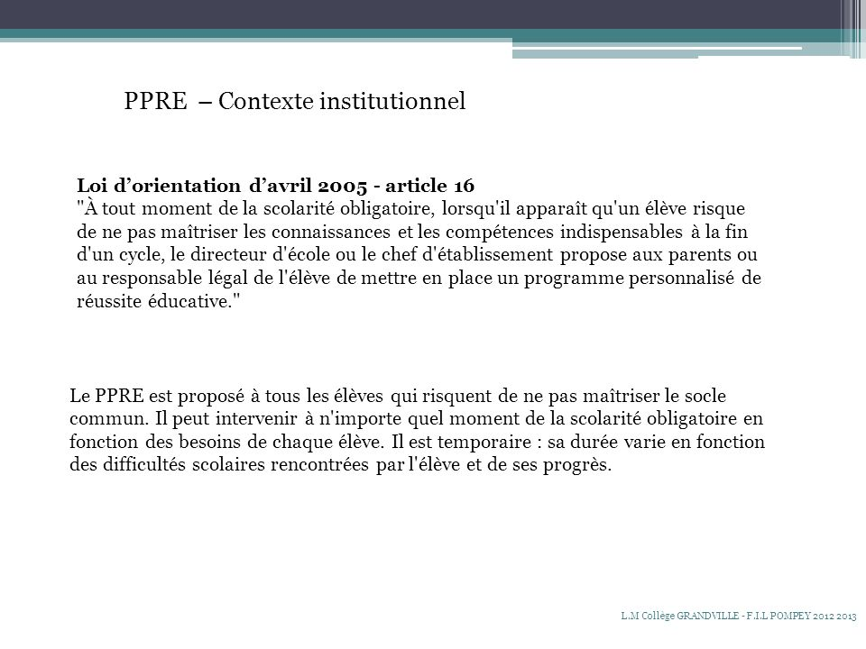 PPRE – Contexte institutionnel