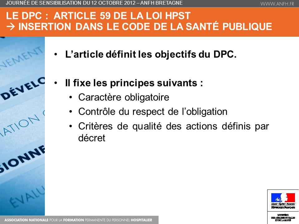 L'article définit les objectifs du DPC.