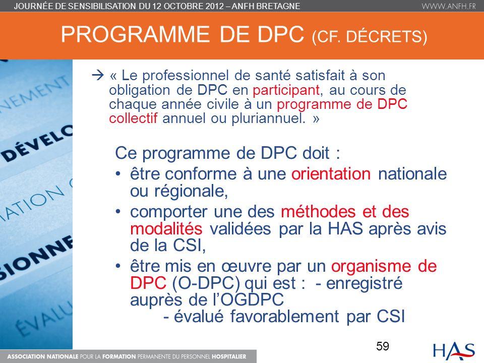 Programme de DPC (cf. décrets)